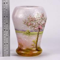 French Art Nouveau Cameo Glass Vase 'Paysage Rosé' by Daum Freres