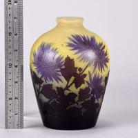 French Art Nouveau Cameo Glass 'Chrysanthemum' Vase by Emile Gallé