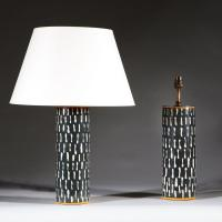 A Pair of Black and White Studio Pottery Vases