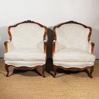 Pair of mid 19th Century Upholstered French Fauteuils