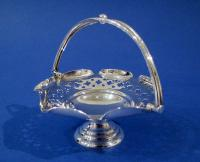 Edwardian Silver Miniature Pierced Swing-handle Basket