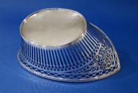 Dutch .833 Silver Navette-Shaped Pierced Basket