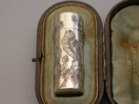 Victorian Cased Silver Gilt Engraved Scent Bottle - 'Birds & Insects'