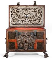 A Massive Iron Casket Inset with Brass Fretwork Panels, c. 1740