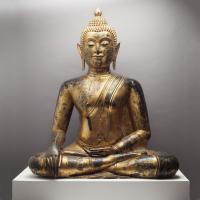 SEATED THAI BUDDHA Gilded and Lacquered Bronze
